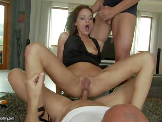 Sophie Lynx is a lovely skinny babe with long legs, tiny fuckable ass and shaved pussy. She gets throat fucked and enjoys another cock in her tight an