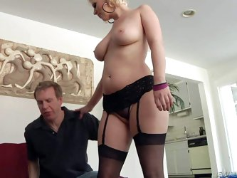 Blonde diva Cherry Torn is devilishly sexy in her black lingerie. Lady in stockings gets her nice juicy buttocks touched by lucky guy. Mark Wood admir
