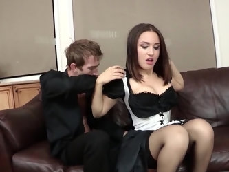 Fellow returns home from work only to find out maid is using squirt juices to clean his couch. She is willing to protect secret of her company and agr