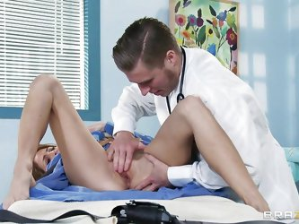 This horny perverted doctor starts to slowly massage the hot babe's little cunt to turn her on. She then helps him strip her off and gets on her