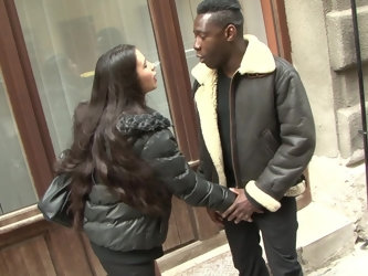 Slutty long haired teen Mira Cuckold ass fucked by a big black cock