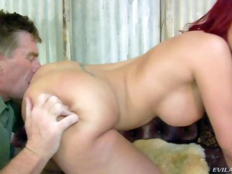Curvy redhead Kelly Divine with huge tits and bubble butt strips naked and then makes Kyle Stone lick her ass. What a nice way to dominate. Middle-age