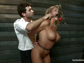 Charisma Cappelli with huge perfect boobs is an incredibly sexy slave girl. She gets her fuck hole attacked by horny as hell master with rock hard coc