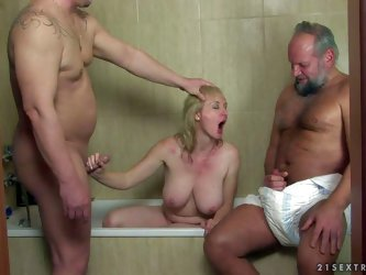 Turned on experienced mature blonde slut with huge hanging tits and pale skin sucks peckers and gets fucked good by her turned on chubby neighbors in
