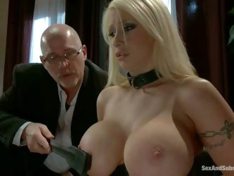 Beautiful blonde Candy Manson with perfect massive tits gets trained to be an obedient slave. She gets her big boobs spanked and tortured with clamps