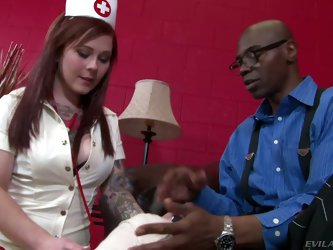 Sexy red-haired nurse Misti Dawn gives pleasure to black man with big cock. She strokes and sucks his thick long dick with wild passion. She loves int