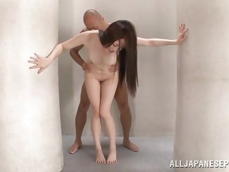 This room is completely empty, except these two people and two giant pillars. The cute babe rides her man's cock and gets pounded really hard fro