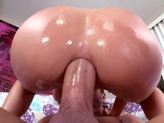 Huge dildo is getting rammed inside a wet and large back door