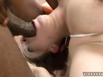 Teen neighborhood chick Chavon Taylor fucked hard in the throat with a big black dick