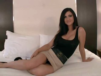 This casting video features Desiree. She's an elegant brunette with sexy long legs. Attractive brunette in short skirt and shoes takes off her br