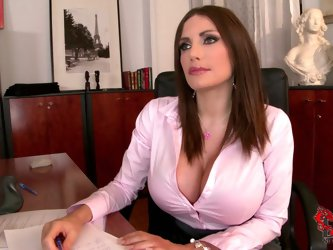 Clanddi Jinkcego is a sexy big breasted office woman that looks great in her tight pink blouse and skirt. She turns man on with her cleavage.