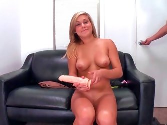 Enticing blondy Kennedy Leigh masturbates before being fucked hard
