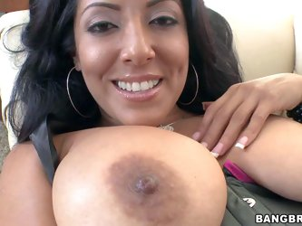 Big titted brunette milf Kiara Marie in black stockings gets her hairless pussy fucked hard by fucking machine. And then she takes dude's nice ro