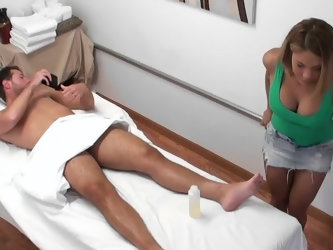 At this massage parlor it's the pleasure the girls give their clients that matters most. The blonde masseuse shows off a wide range of skills tha