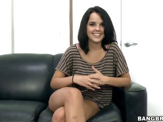Black haired newbie Dillon Harper is ready to do her first porn. She gets interviewed before she gets naked to show nice sexy tan lines on her juicy a