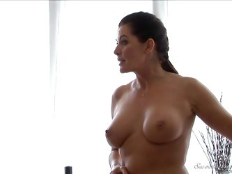 Magdalene St Michaels is a mature brunette with perfect big boobs. Her nude body exposed in the bathroom turns on Lily Cade. Watch them have their fir