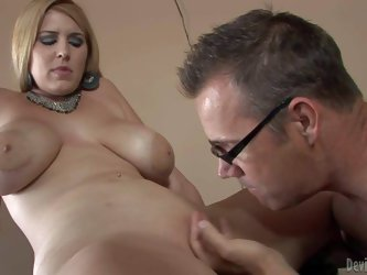 Busty blonde with curves Athena Pleasures gets her massive melons fucked by hot dude before he takes care of her wet trimmed pussy. Watch massive titt
