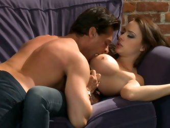 Busty Chanel Preston takes off her jeans and lingerie on the couch to be fucked. Well stacked bombshell gets her hole drilled hard and loves it. He ba