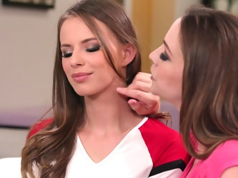 Lesbian babes Jillian Janson and Chanel Preston make each other cum