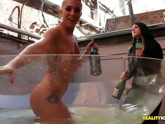 Champagne bath with two hotties