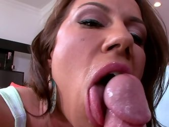 A milf is showing us how much she loves to swallow man juices