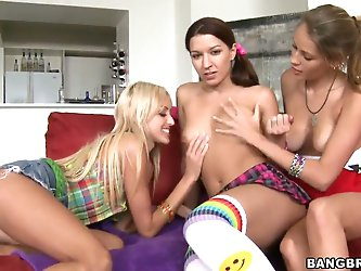 Ann Marie Rios, Breanne Benson and Nikki Brooks are young girlfriend who are full of energy and ready to discover new ways of getting volcanic pleasur