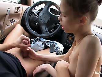 Quite young guy with huge tight dick seduced his slim hot girlfriend Beata to give him a great deep blowjob in his fancy car