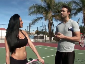 Two pornstars are playing tennis on the special court. But then Audrey Bittoni takes out his big and large dick and pretty bitch Rocco Reed starts to