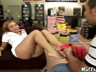 Tony uses his shoe salesman job to enjoy his foot fetish, and today she gives Valentina Blue a nice foot massage to help her with her tired feet. She