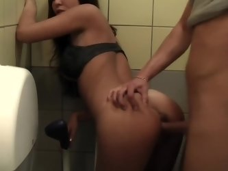 Public bathroom sex tape with his doggystyle loving GF