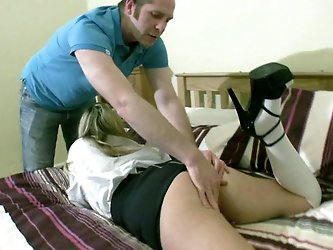 Slutty English bitch wearing college uniform is sucking hard dick deepthroat. Lleia gets finger fucked before she got penetrated with solid pecker.