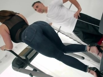 A milf that has wonderful curves is working out and fucking