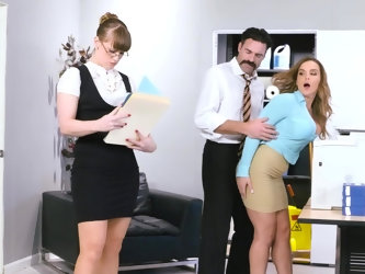 New secretary wants to get acquainted with her brutal moustached colleague. They don't even pay attention to the boss and have crazy sex right in
