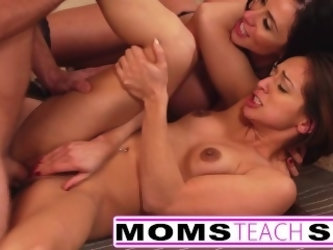 Step Mother fucks Step son and tiny Latina girlfriend