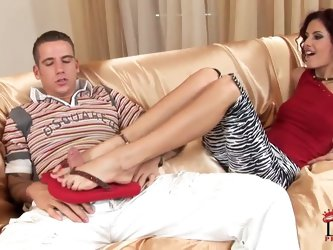 Leanna Sweet has some fun with Ruka Stone as she teases and then satisfies him with her size. We get lots of good closeups of her toes in the shoes be