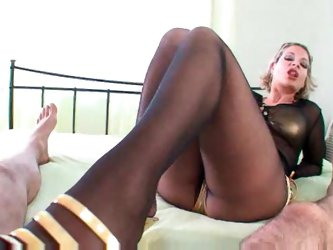 Black pantyhose footjob until he cums