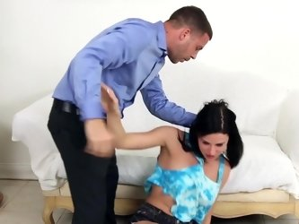 Dude pushes his cock into the horny babes mouth for a blow job