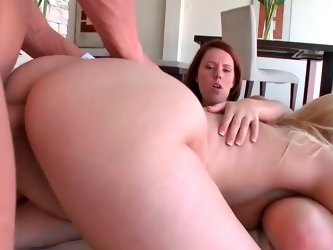 Sublime blonde floozy moans while her delicious bald cunt is screwed