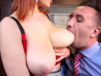 Siri the big breasted secretary redhead fucks her boss