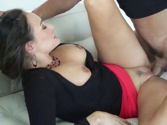 Elegant female takes glasses off and opens mouth because Latin macho's dick is ready. Busty secretary demonstrates her wild desires and behaves l