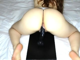 TheRedHeadedRabbit - Riding my dildo in a g-string.