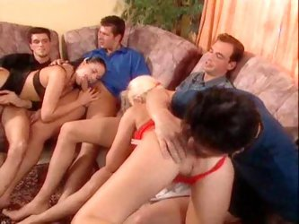 Orgy scene with fucking and hot creampie eating