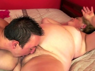 A fat old slut that loves young men manages to climb on this guy