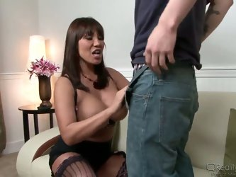 Beautiful big titted Ava Devine called her neighbour young  guy to help her with electricity problem. She maked his penis steel by her giant boobs and