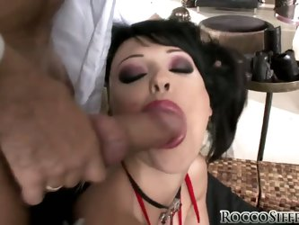 Mysterious and sexy, dark haired Aletta Ocean is a real bombshell. Rocco Siffredi wants to lick her whole from head to toe, especially those tiny litt