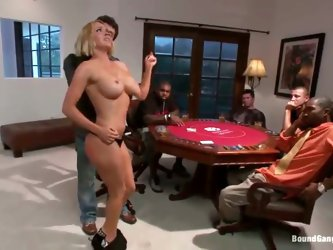 Krissy Lynn won't stop bitching to her boyfriend who's in the middle of a poker game, and finally he breaks down and puts the bitch where sh