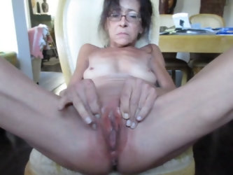 Old skinny granny with open pussy gets fucked by her neighbor