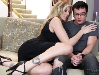 Julia Ann is one bombshell milf with tits nearly popping out of her cleavage, and Dane Cross is getting more and more nervous. She'll guide the s