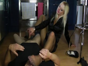 Blonde naught footjob