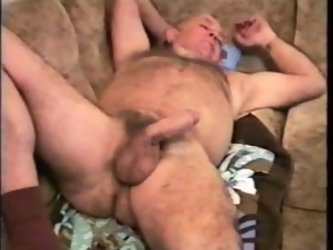 Old mature grandpa fucking with a younger men